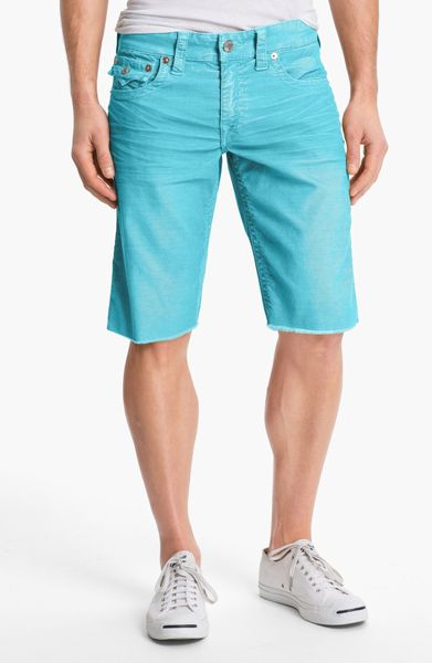 True Religion Ricky Cut Off Corduroy Shorts in Blue for Men (turquoise) | Lyst