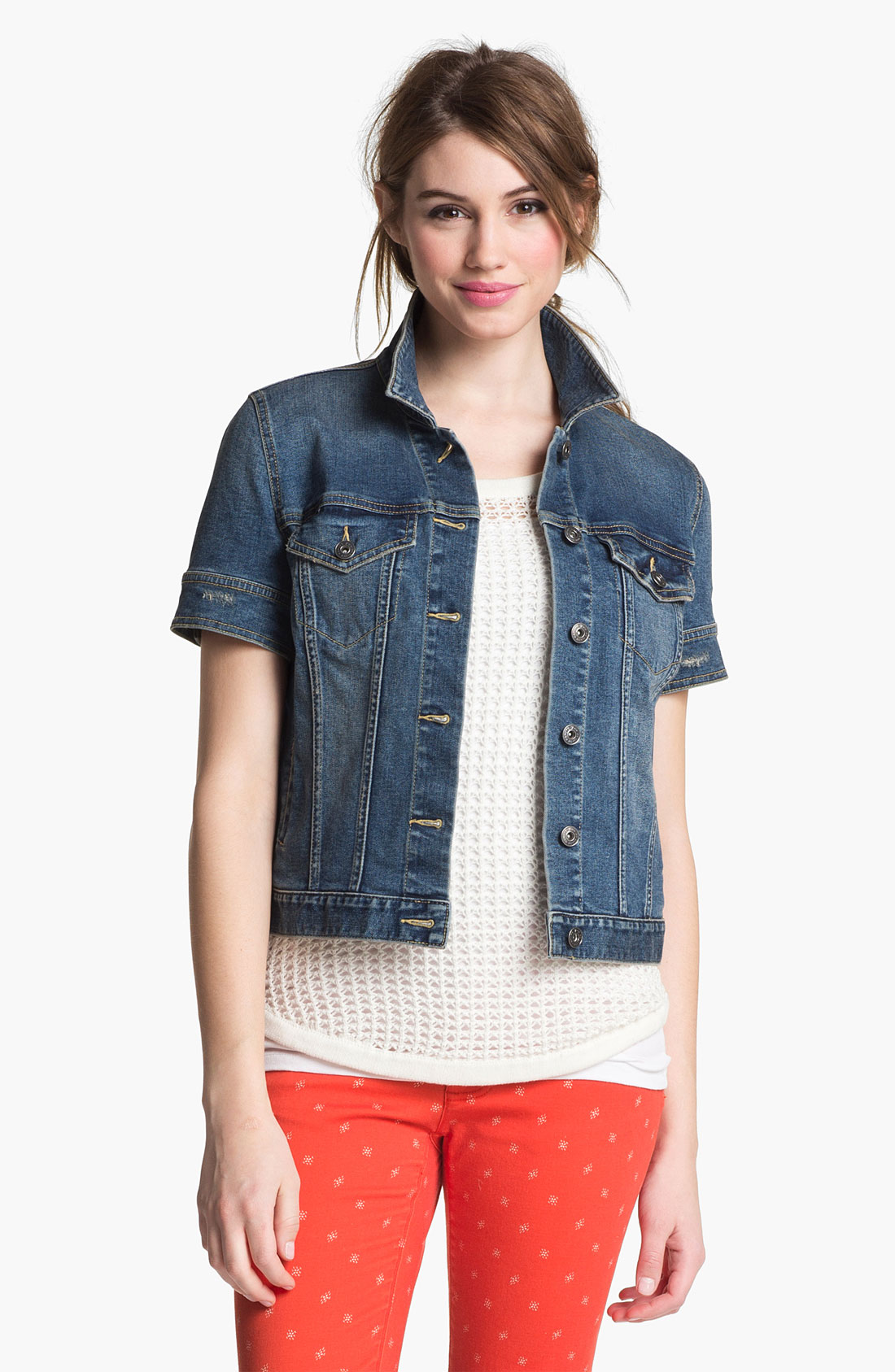Two by vince camuto Short Sleeve Denim Jacket in Blue | Lyst