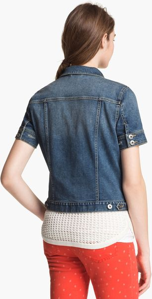 Two By Vince Camuto Short Sleeve Denim Jacket In Blue