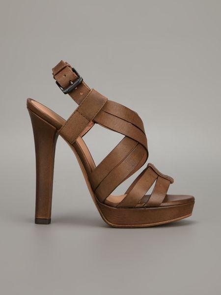 Bottega Veneta Strappy Sandal In Brown Lyst