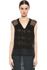 Helmut Lang Thread Stitch Sleeveless Top in Black - Lyst