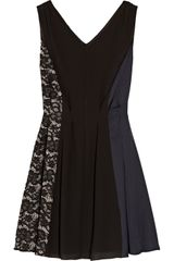 Nina Ricci Lace and Charmeusepaneled Crepe Dress - Lyst