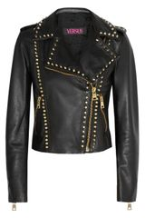 Versus  Studded Leather Biker Jacket - Lyst