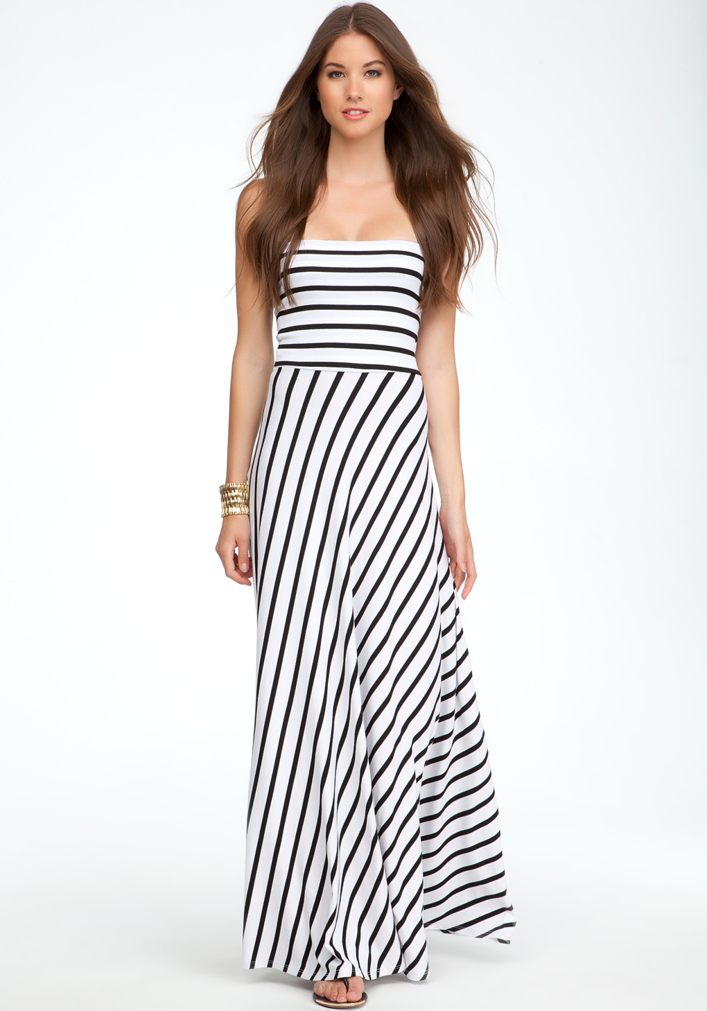 Bebe Strapless Stripe Maxi Dress In Black Lyst