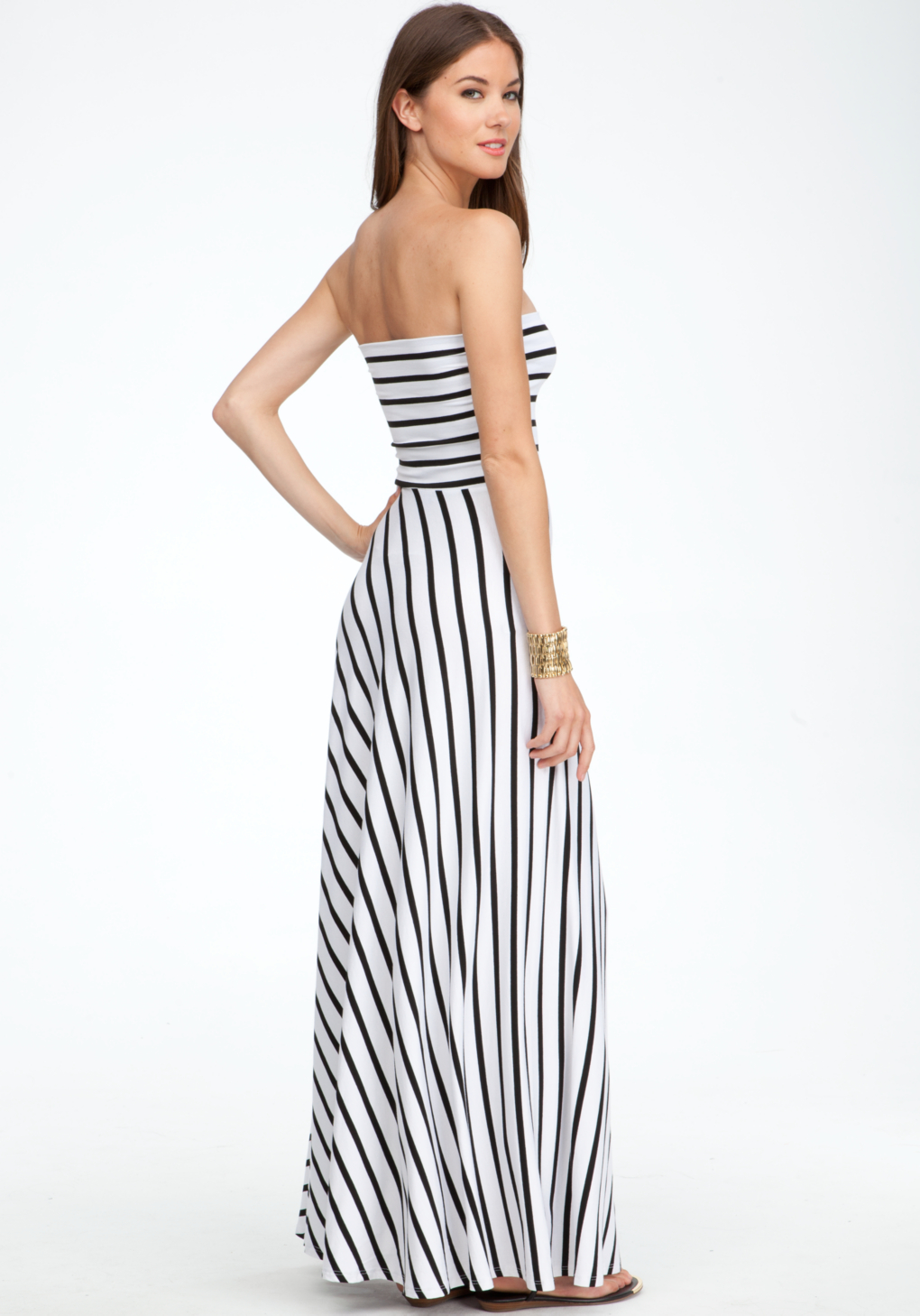 2019 year style- White and Black striped maxi dress bebe