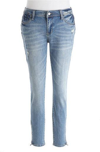 DKNY City Skinny Distressed Cropped Jeans - Lyst