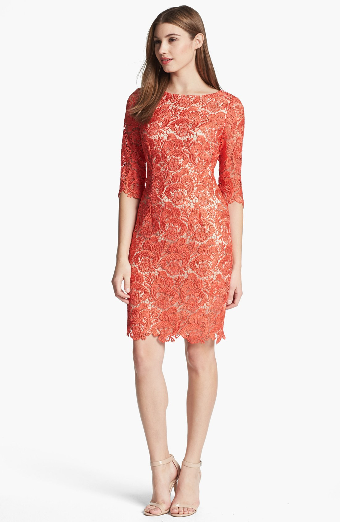 Eliza J Embroidered Lace Overlay Sheath Dress In Pink