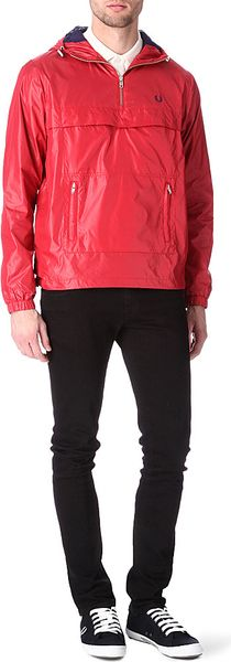 fred perry meshlined pullover cagoule in red for men washed red. Black Bedroom Furniture Sets. Home Design Ideas