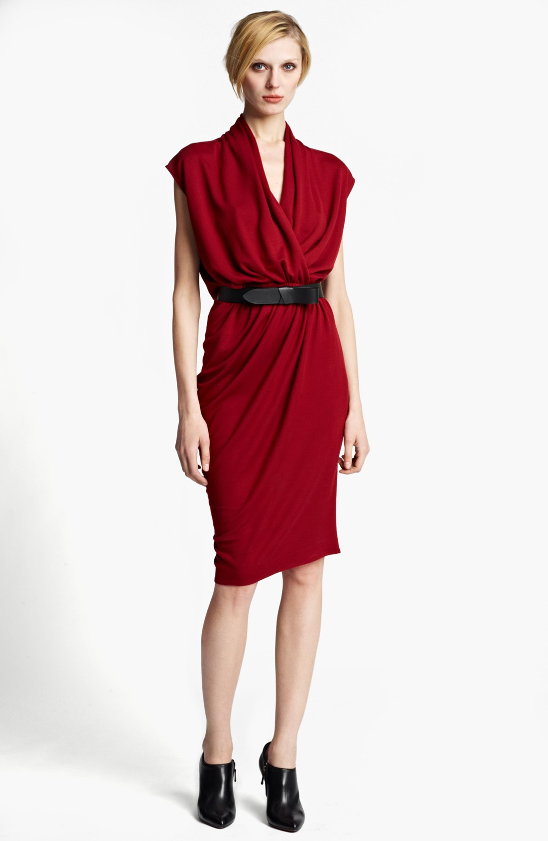 Lanvin Draped Jersey Dress in Red | Lyst