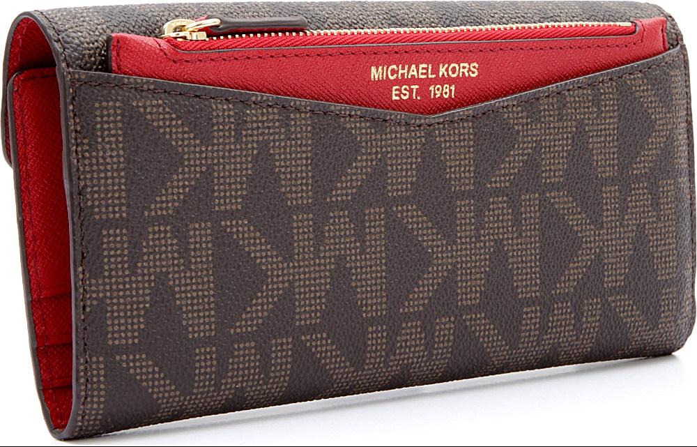 ac7c001d6bfe Michael Kors Logo Trifold Wallet in Brown - Lyst