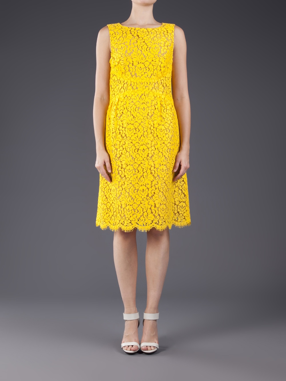 Lyst Michael Kors Floral Lace Shift Dress In Yellow
