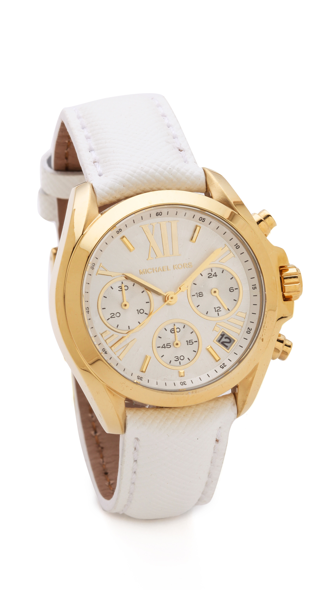 Michael kors leather bradshaw watch in white null lyst for Watches michael kors