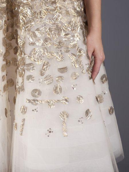 Oscar De La Renta Embellished Cocktail Dress In White
