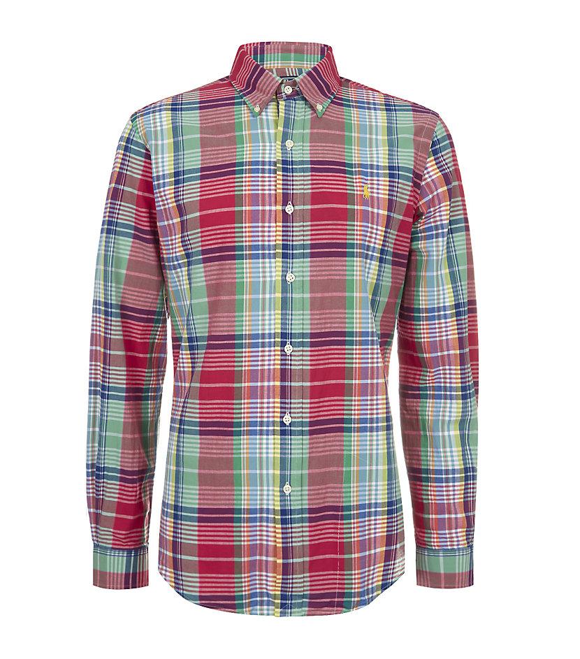 Polo ralph lauren custom fit madras shirt in green for men for Mens madras shirt sale