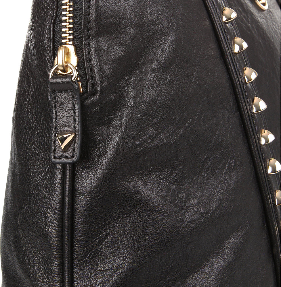 5cd7248aac3d Tory Burch Pyramid Stud Dome Tote in Black - Lyst