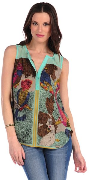 Twelfth Street by Cynthia Vincent Parrot Scarf Button Back Top - Lyst