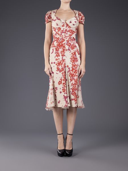 Zac Posen Printed Sweetheart Dress In Pink Hibiscus Lyst