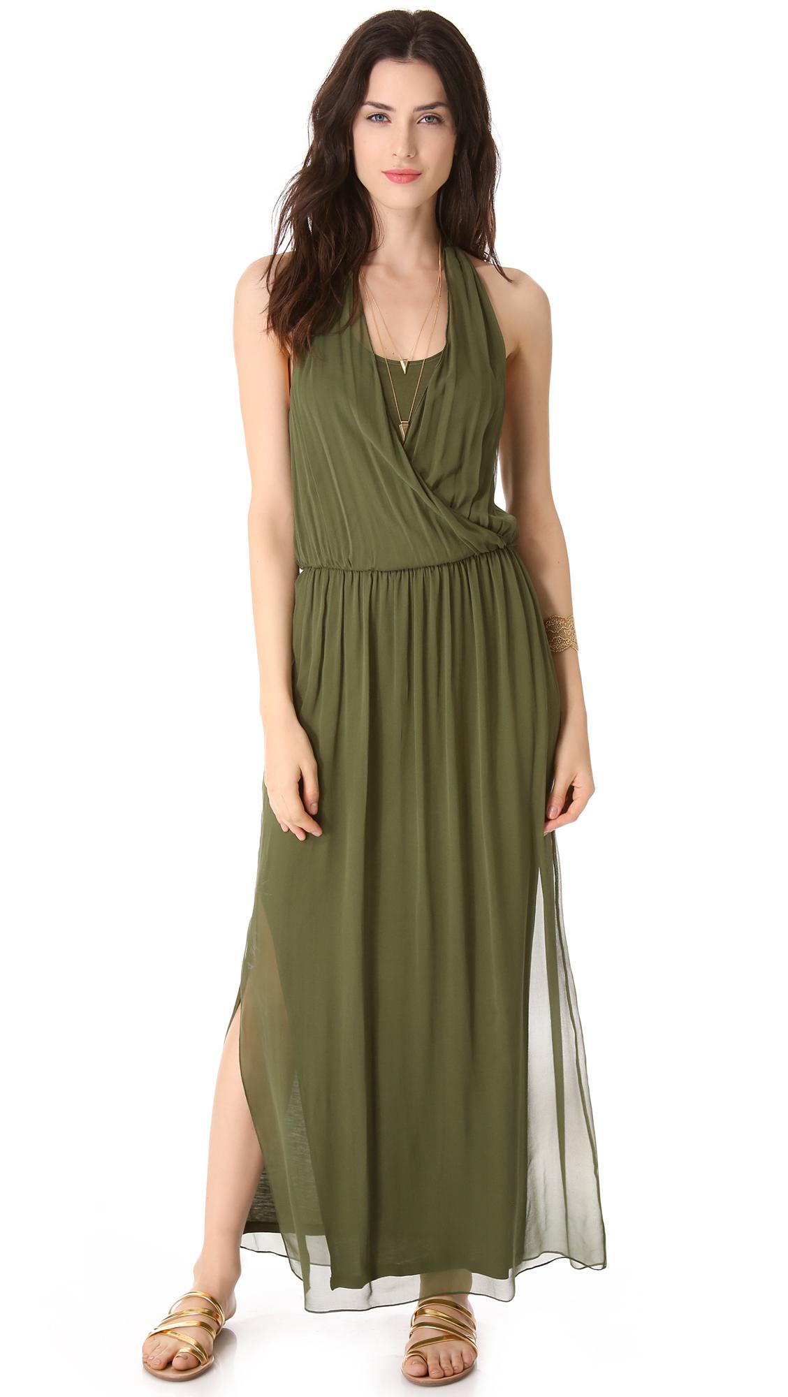 Lyst Alice Olivia Mora Wrap Front Halter Dress In Green