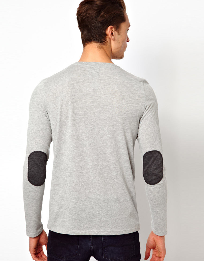 Lyst asos long sleeve t shirt with contrast pocket and for Shirts for men with long arms