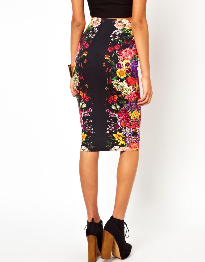 asos pencil skirt in mirror floral print lyst