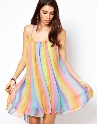 ASOS Collection Rainbow Swing Dress with Cami Back - Lyst