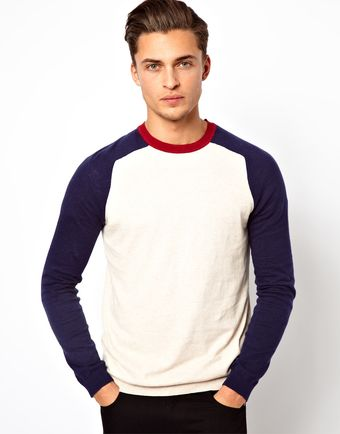 Asos Crew Neck Jumper with Contrast Sleeves - Lyst