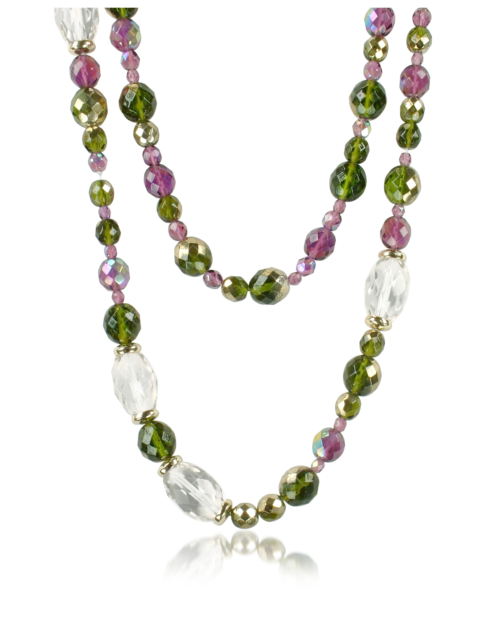Classic Motel Az Collection Double Beaded Long Chain Necklace In Green
