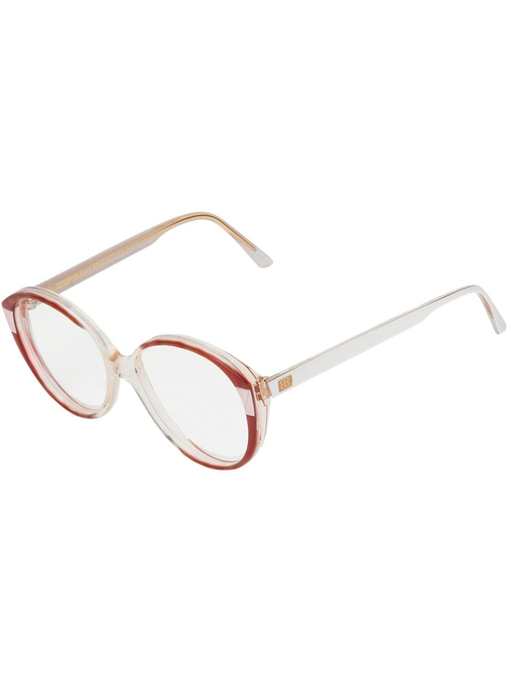 Balenciaga Vintage Oval Frame Glasses in Transparent Lyst