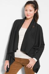 Bobeau Asymmetrical Fleece Wrap Cardigan - Lyst