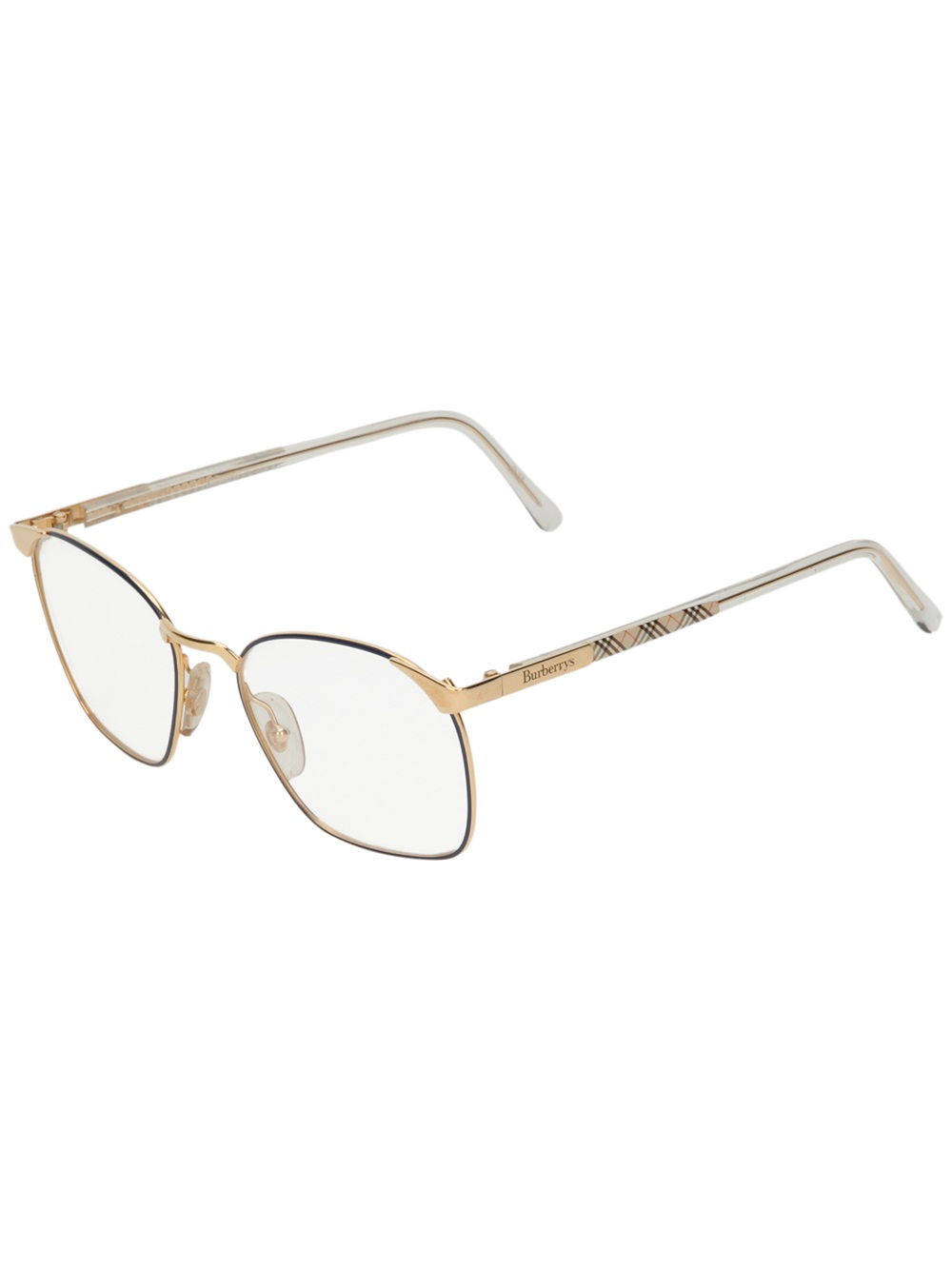 burberry square frame glasses in gold lyst