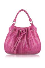 Buti Fuchsia Croco Stamped Leather Drawstring Tote Bag - Lyst
