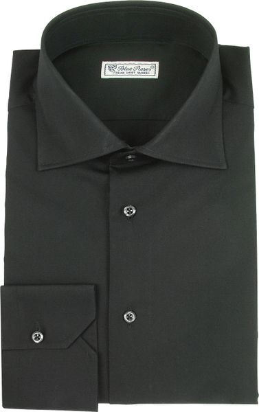 Forzieri blue roses solid black wide spread collar cotton for Wide spread collar shirt