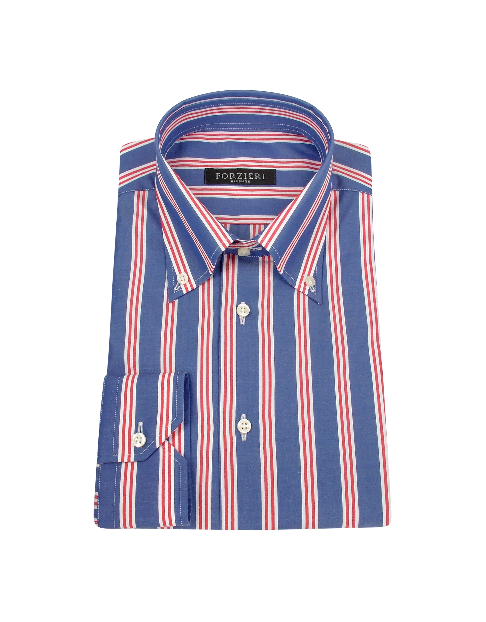 Forzieri red and white striped blue cotton italian dress for Mens red and white striped dress shirt