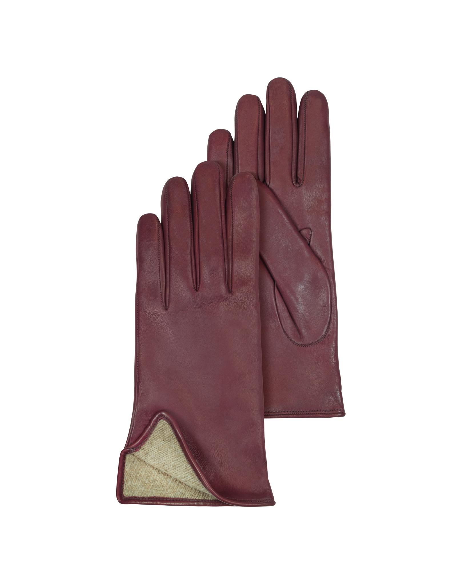 Womens leather gloves burgundy -