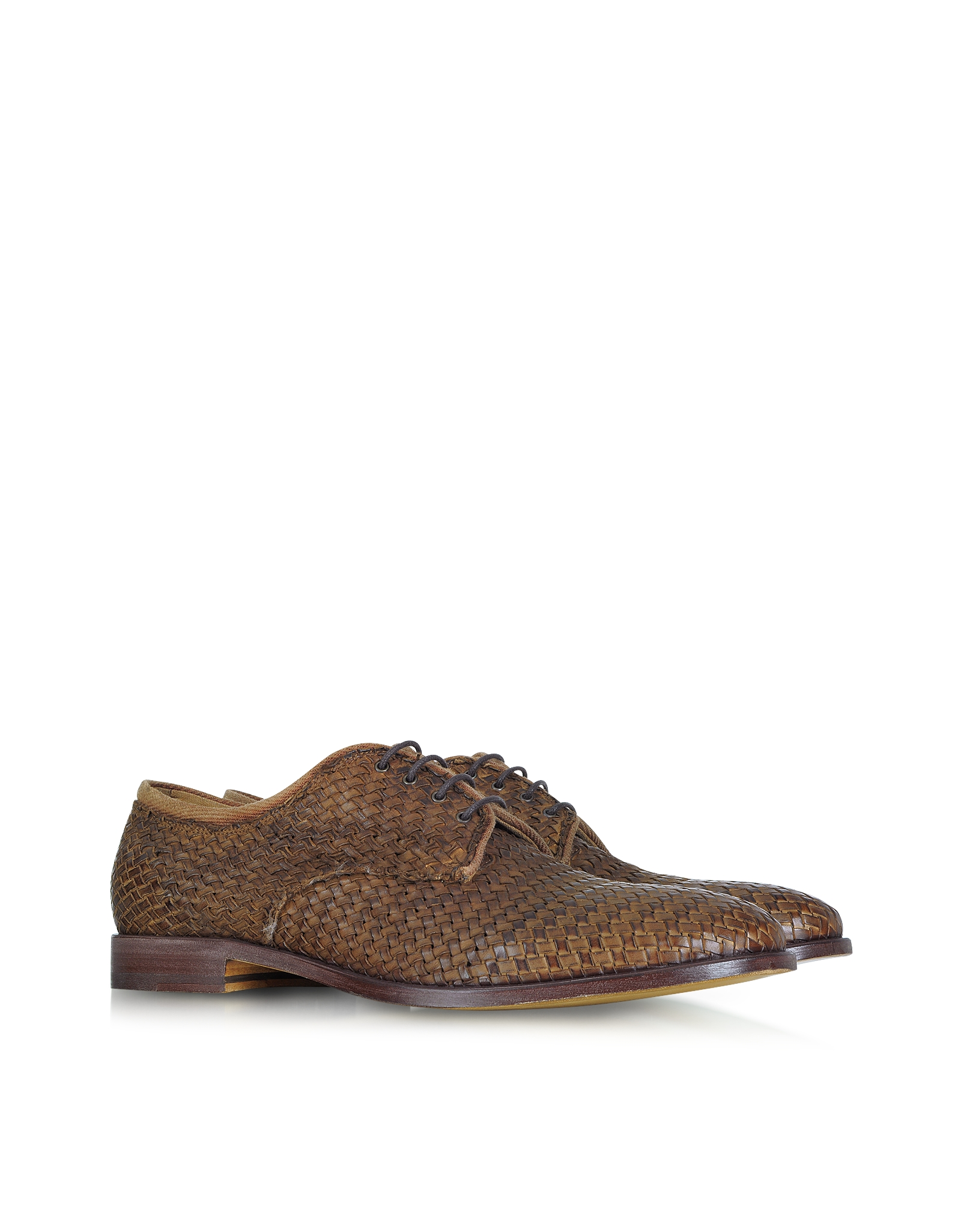 fratelli rossetti derby brown woven leather shoes in brown