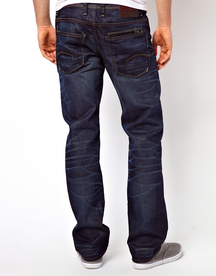 g star raw g star jeans attac low straight in blue for men. Black Bedroom Furniture Sets. Home Design Ideas