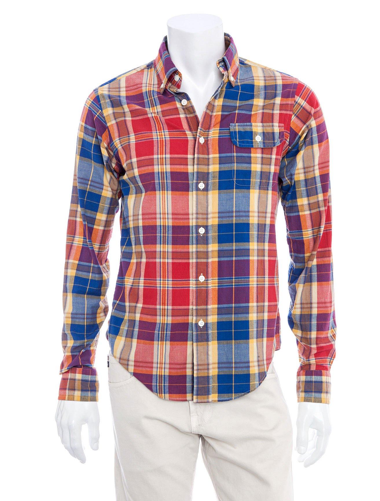 Gant by michael bastian indigo madras shirt in multicolor for Mens madras shirt sale