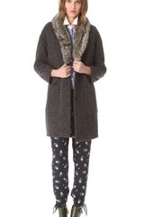 Girl. By Band Of Outsiders Coat with Faux Fur Collar - Lyst