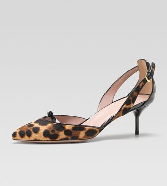 Gucci Leopardprint Calf Hair Pump - Lyst