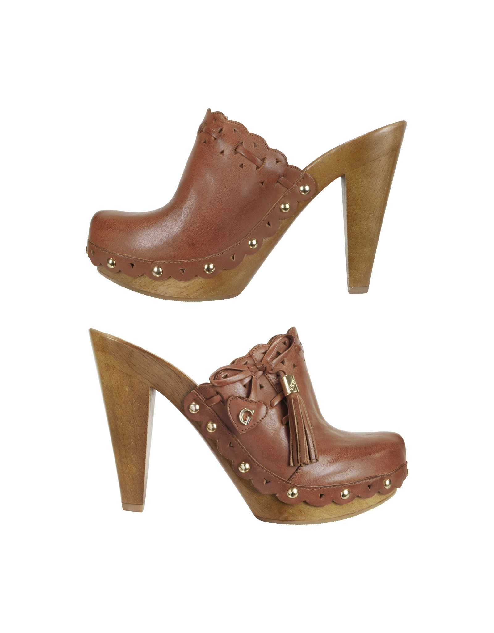 Guess Verunca Logo Leather And Wood Clog Shoes In Brown Lyst