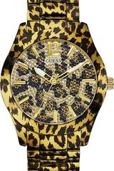 Guess Leopard Print Stainless Steel Watch - Lyst