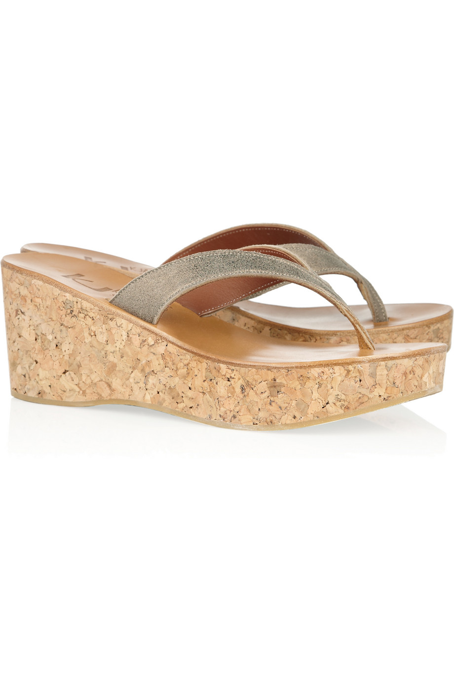 d48a2ca1991e Lyst - K. Jacques Diorite Leather and Cork Wedge Sandals in Metallic