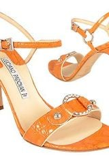 Luciano Padovan Orange Ring Detail Crocostyle Leather Sandal Shoes - Lyst