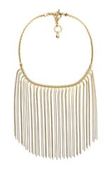 Michael Kors Fringe Bib Necklace Golden - Lyst