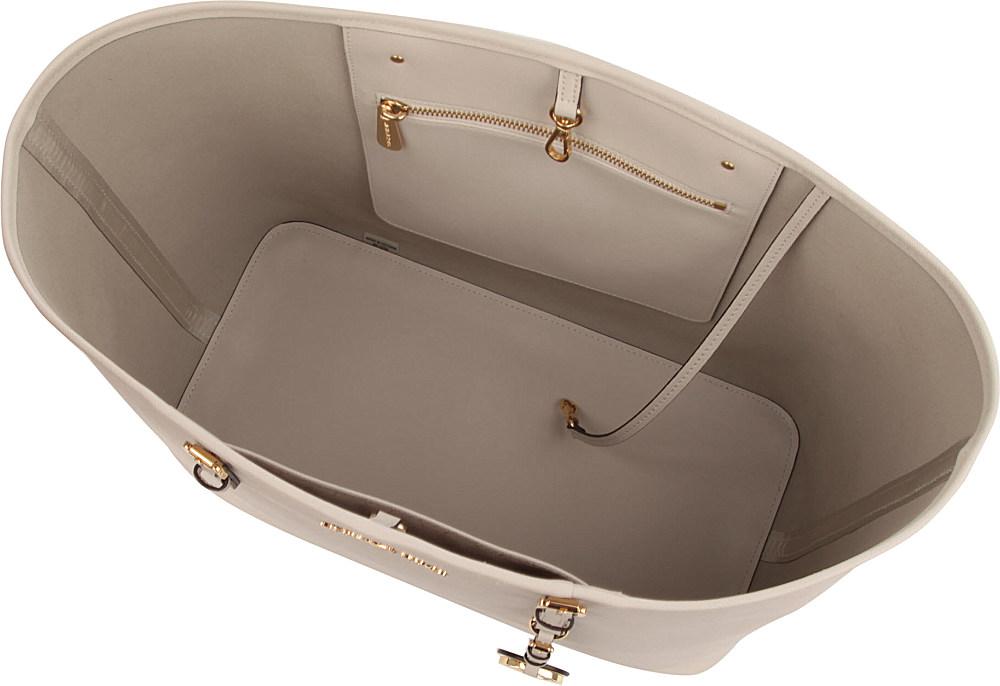 michael kors jet set travel medium saffiano leather tote in white. Black Bedroom Furniture Sets. Home Design Ideas