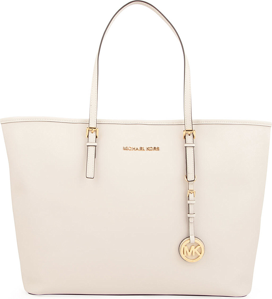 d5210f399 sweden michael kors jet set travel medium saffiano leather tote in white  lyst a9094 78606