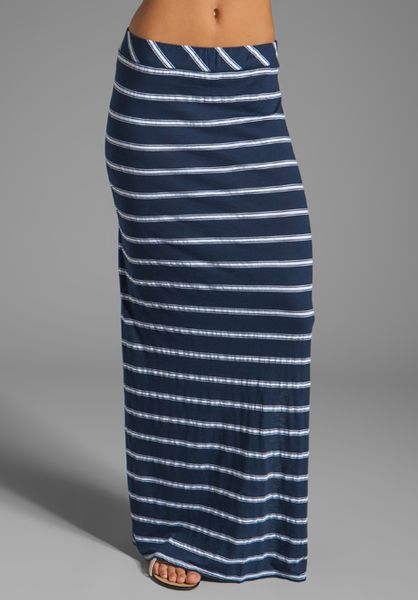 michael hton stripe slim maxi skirt in navy in