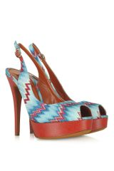 Missoni Light Blue and Red Fabric Platform Slingback - Lyst