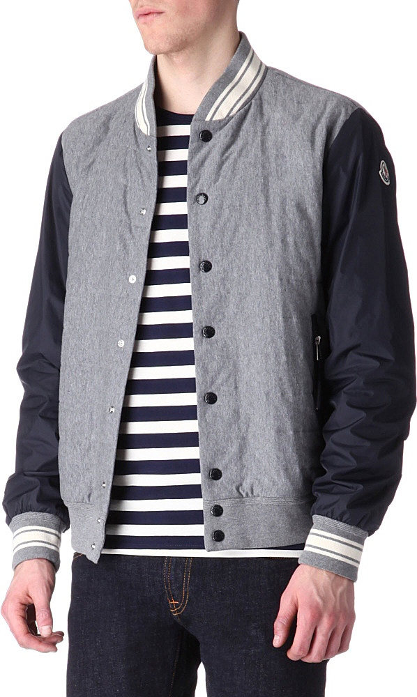 Moncler Quilted Varsity Jacket In Gray For Men Lyst