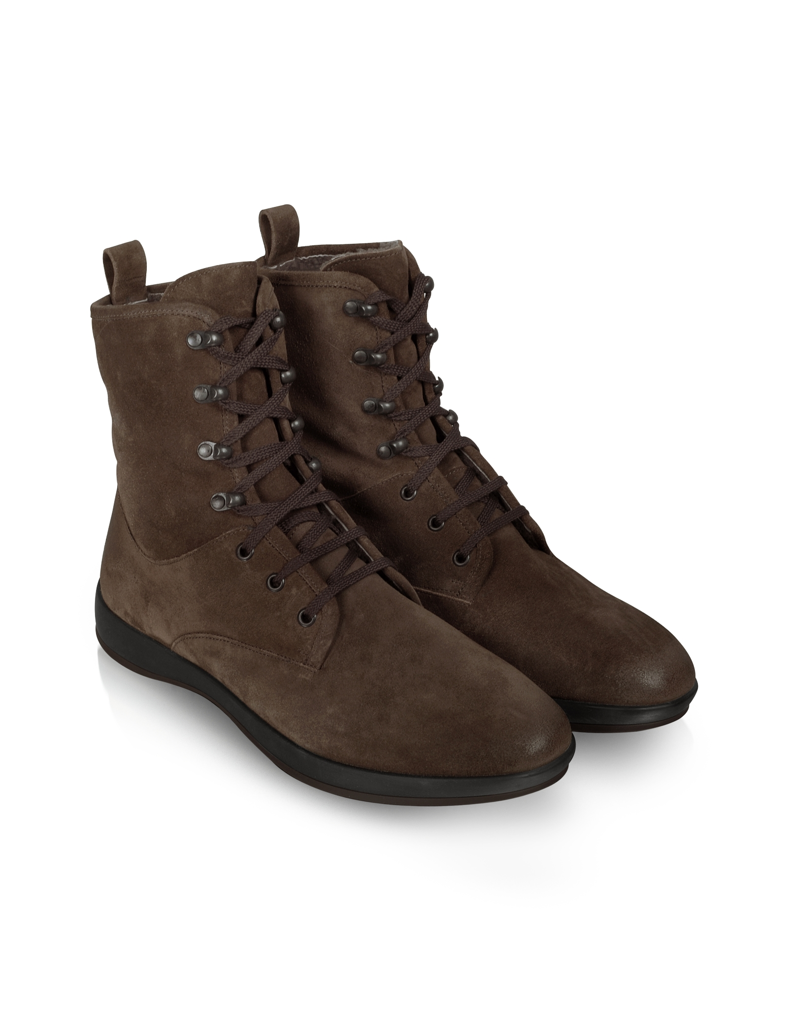 moreschi brown suede lace up ankle boot in brown for